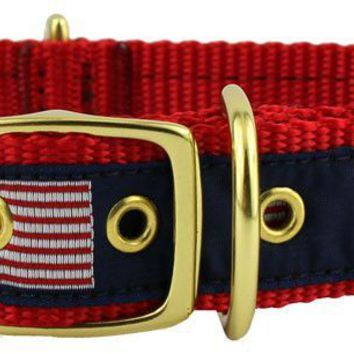 Dog Collar in Navy Ribbon on Red Canvas with American Flags by Country Club Prep
