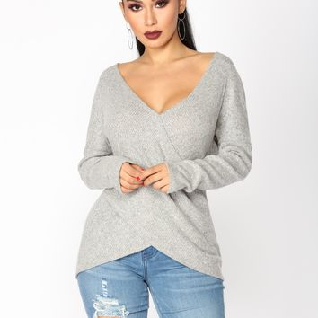 Ava Surplice Top - Grey