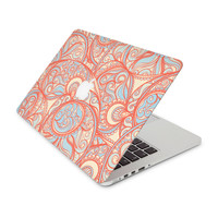 Orange and Sky Blue Paisley Pattern Skin for the Apple MacBook