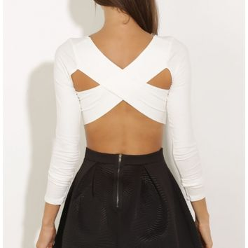 Tops > Cross-Back Crop Top In Cream