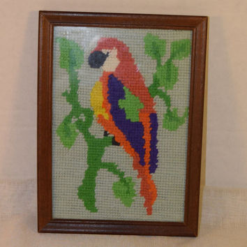 Needlepoint Parrot Framed Under Glass Picture Vintage Embroidery Bird Wall Hanging Tropical Parrot Wall Art Needlework Gift Bird Lover Gift