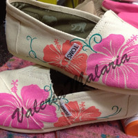 Pink hibiscus TOMS shoes