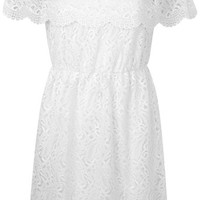 White Lace Bardot Dress - Clothing - New In