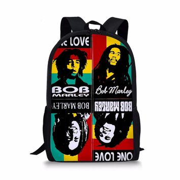 Bob Marley one love Backpacks School bags teenage schoolbag satchel for boys girls students mochila escolar book bag 2018