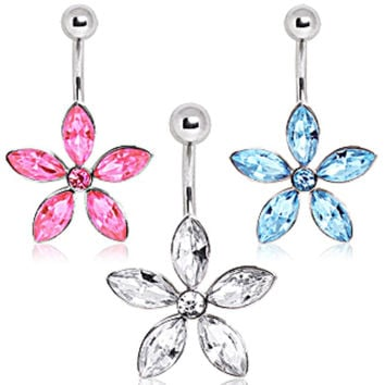 316L Surgical Steel Navel Ring with Star Shaped Flower