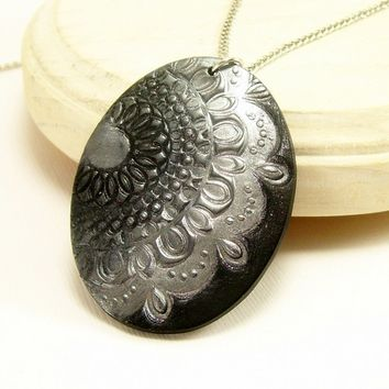 Black and Silver Oval Pendant, Polymer Clay Jewelry, Wearable Art