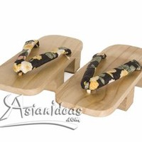 Black Floral Wooden Geta