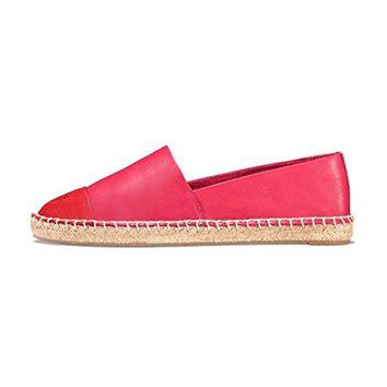 Tory Burch Color-Block Leather Espadrilles, Azalea/Red