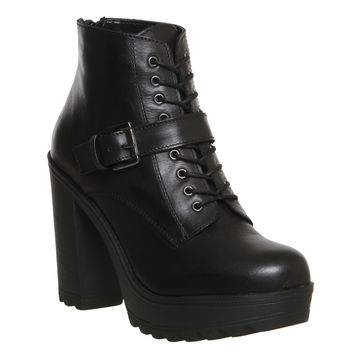 Office Candid Chunky Heel Harness Boot Black Leather - Ankle Boots