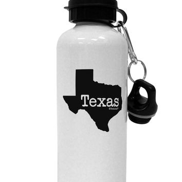 Texas - United States Shape Aluminum 600ml Water Bottle by TooLoud