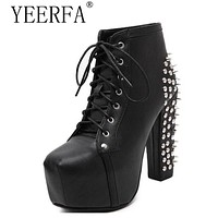 YEERFA Ultra High Heels Shoes Woman Punk Boots Spikes Ankle Boots Rivet Bota Women lita Platform Booties Lace Up Lady Shoes