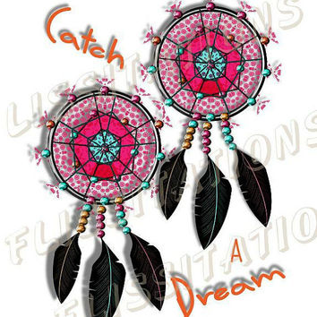 Lucky Indian Dream Catchers Pink Teal Orange Modern Art  Picture Poster Image