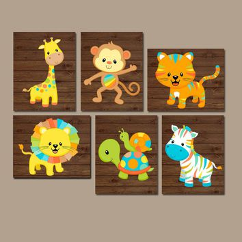 Safari Animals Nursery Wall Art, Jungle Animals, Baby Boy Wall Decor, Colorful Zoo Animals, Animal Nursery Decor Canvas or Prints Set of 6
