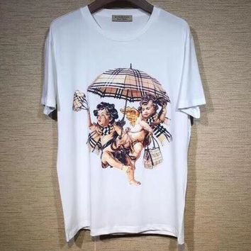 Burberry 2019 new street fashion angel umbrella printing men and women round neck short-sleeved T-shirt White