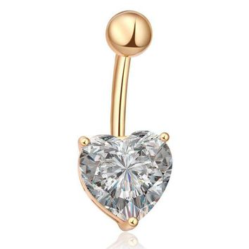 ac DCCKO2Q Water Drop Heart Piercing Navel Jewelry Belly Piercings  Clear AAA Cubic Zirconia Gold-color Belly Button Rings Free Shipping
