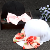 2016 Fashion Girls Spring Summer Hip Hop Strake Cap Korean Style Pattern Women Lady Bowknot Snapback Adjustable Sun Baseball Hat