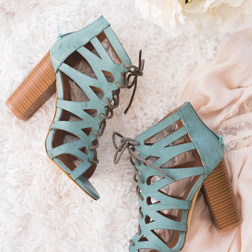 Island Oasis Lace Up Cut Out Sandals (Green)