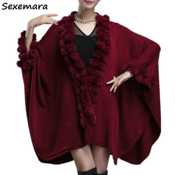 Womens Capes and Ponchoes 2018 Winter Rabbit Fur Ball Shawl Oversized Knitted Sweater Poncho Long Cashmere Cardigan Coat MY31
