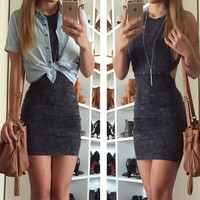 Black Denim Criss Cross Backless Dress