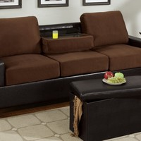 Two tone Chocolate microfiber fabric and espresso leather like vinyl sofa with center drop down arm