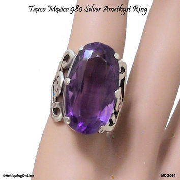 TAXCO 980 Silver Amethyst Ring Mexico Mid Century Modernist Vintage Mexican Silver Amethyst Ring Mexican Jewelry