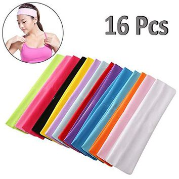Amazon.com: PartyYeah 16-Pack Unisex Stretch Elastic Yoga Cotton Headbands Sweatband for Teens and Adults, Non-Slip Sport Sweatband Headwear for Running, Yoga, Tennis, Volleyball, Basketball Fitness All Sports: Beauty