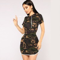 Summer Women's Fashion Short Sleeve Hats Camouflage Pen One Piece Dress [1331230736500]