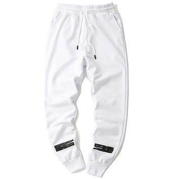 Off White Women or Men Fashion Casual Loose Pants Trousers