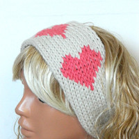 Crochet,Head band Oversized Ear Warmer Wide Knitted Headband ivory,Pink heart headband. Winter Headband, Hair Coverings