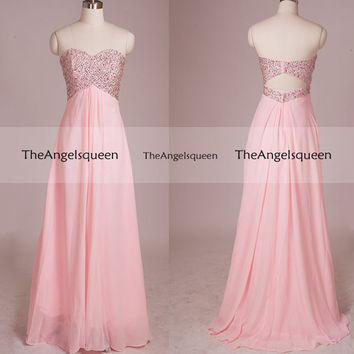 Sweetheart Sparkling Pink Strapless A-line LongEvening Gown with Jewel Bodice,Bridesmaid dress,cocktail dresses,senior prom dress