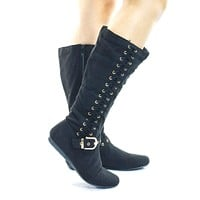 Rachel25 Mid Calf Flat Moccasin Slouch Boots w Side Woven Corset Lace up Shoes