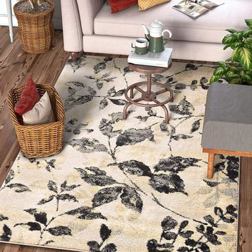 6118 Ivory Branches Floral Modern Area Rugs