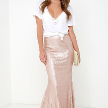 Kickin' Up Stardust Blush Sequin Maxi Skirt