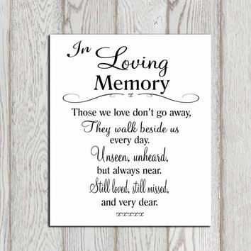 Memorial Quotes Gorgeous In Loving Memory Printable Memorial Table From DorindaArt On Etsy