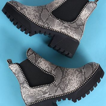 Beaded Trim Snake Print Lug Sole Flatform Gore Ankle Booties