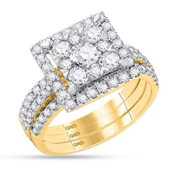 14kt Yellow Gold Womens Round Diamond Square 3-Piece Bridal Wedding Engagement Ring Band 3-Piece Set 2.00 Cttw