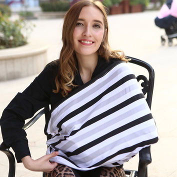 Infinity Scarf Nursing Cover Baby Car Seat Cover Canopy Stretchy Infant Breastfeeding Shopping Cart High Chair Cover Stirpe