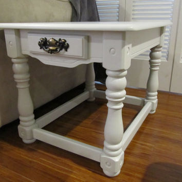 Antique Light Grey Painted End Table