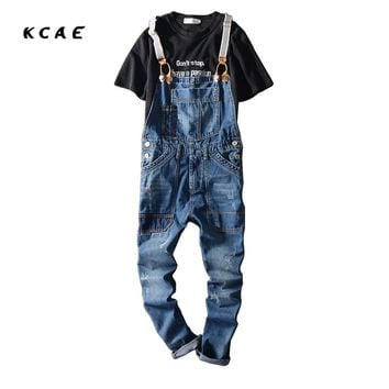 2017 New Arrival Stretched Mens Slim Straight Denim Overalls Distressed Jeans Ripped Jumpsuit Male Suspenders Bibs Blue
