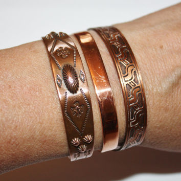 Vintage Copper Cuff Bracelet Lot Sadona Native American 1960s Jewelry