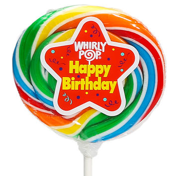 Whirly Pop 1.5-Ounce Swirl Suckers - Rainbow Birthday: 24-Piece Displa