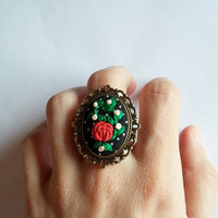 Hand Embroidered Cocktail Ring, Flower Bouquet, Adjustable Statement Ring