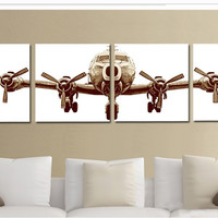 Airplane Painting on Canvas (4 Pcs.)