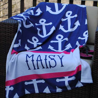 Anchor Navy - Beach Towel
