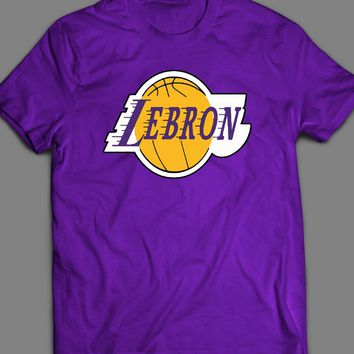 LAKER'S LOGO LEBRON JAMES PARODY CUSTOM ART T-SHIRT