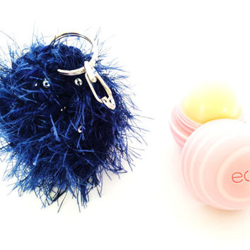 Fuzzy Midnight Blue Sparkly EOS Lip Balm Cozy/Holder with Split Ring/Lobster Clasp for Clip-On