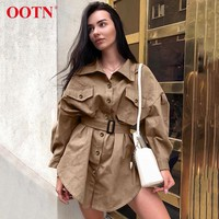 OOTN Long Batwing Sleeve Mini Dress Women Office Lady Shirt Dresses Sashes Vintage Tunic Dress Khaki New Outerwear Casual