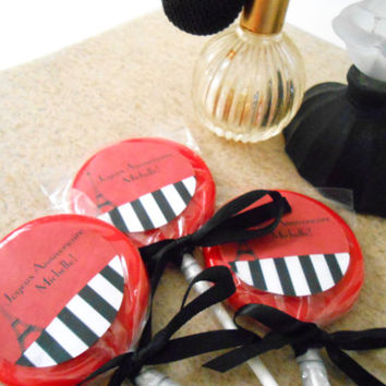 Parisian Lollipops - Custom Party Favors - Red and Black  - Set of 20 - Paris Theme Party - French Theme Party