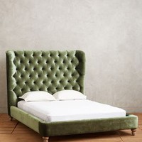 Velvet Tufted Wingback Bed by Anthropologie