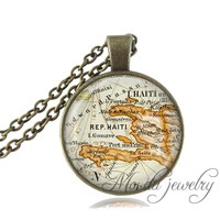 'Haiti' Map Pendant Necklace